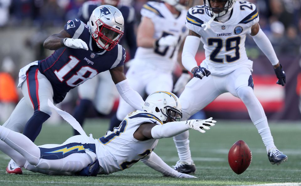 The Chargers' Desmond King muffed this punt, which was recovered by Albert McClellan (not pictured).
