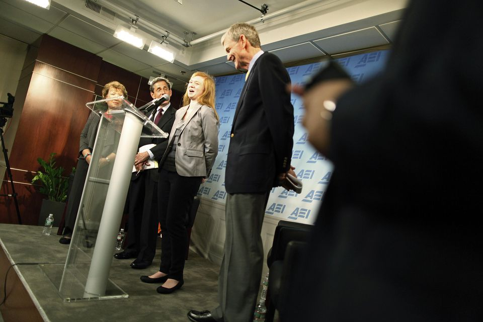 Abigail Fisher (third from left), at a news conference Monday. She sued after her college application was rejected in 2008.