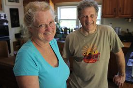 From left, Evelyn Love and her husband, Dr Bruce Karlin.