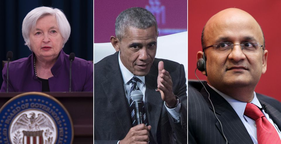 From left: Janet Yellen, Barack Obama, and Nitin Nohria.