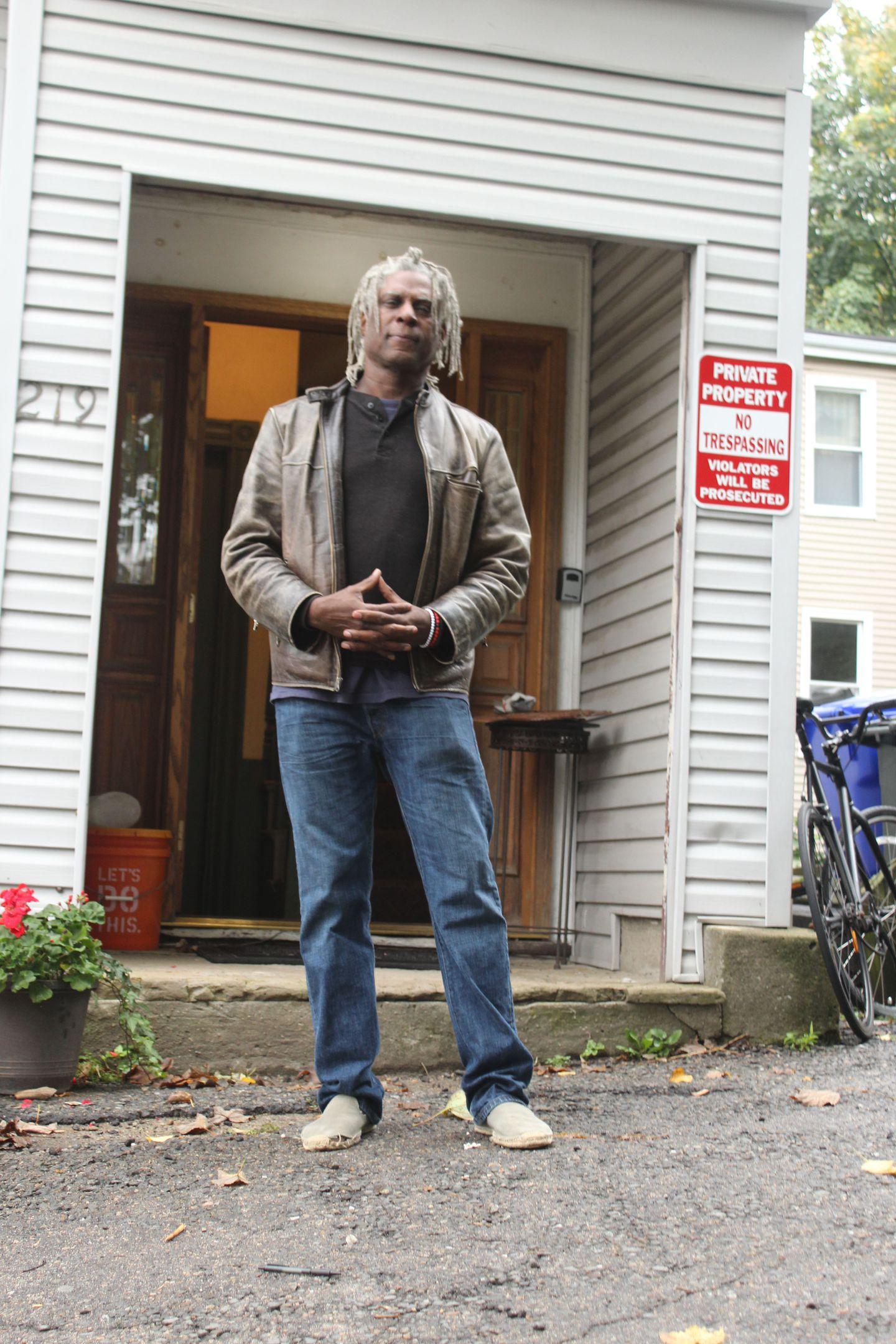 Jerome Stanley outside his apartment last fall.