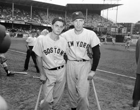 Dom DiMaggio, left, with his brother, Joe DiMaggio of the Yankees, were together on July 12 at the All-Star Game in Brooklyn.