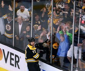 Milan Lucic and fans celebrated his empty-netter.