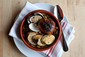 Newton, MA 3/7/13 For a restaurant review of Sycamore, in Newton Center Spanish seafood cassoulet, house-made chorizo, fish sausage, littlenecks, navy beans (Michele McDonald for the Boston Globe) 25dining