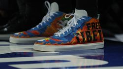 """Detail of the shoes worn by Enes Kanter #13 of the Boston Celtics with the wording """"Free Tibet"""" during the first half against the New York Knicks at Madison Square Garden on Oct. 20, 2021 in New York City."""