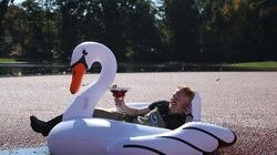 Actor Jesse Tyler Ferguson in the Ocean Spray Cranberry Bog at Patriots Place on Oct. 14 in Foxborough.