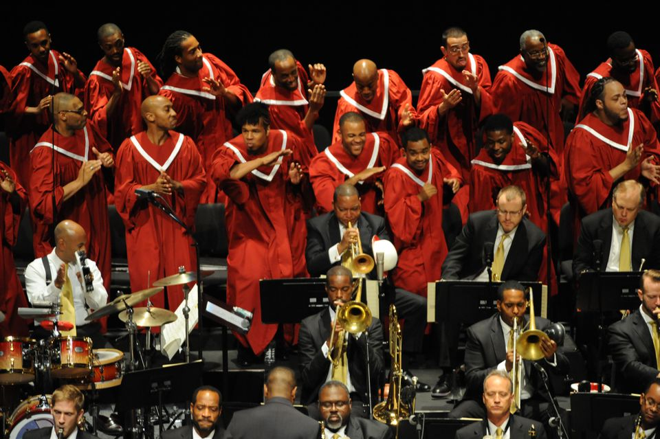 Wynton Marsalis (center with trumpet) leads about 85 musicians and choir members in his new project.