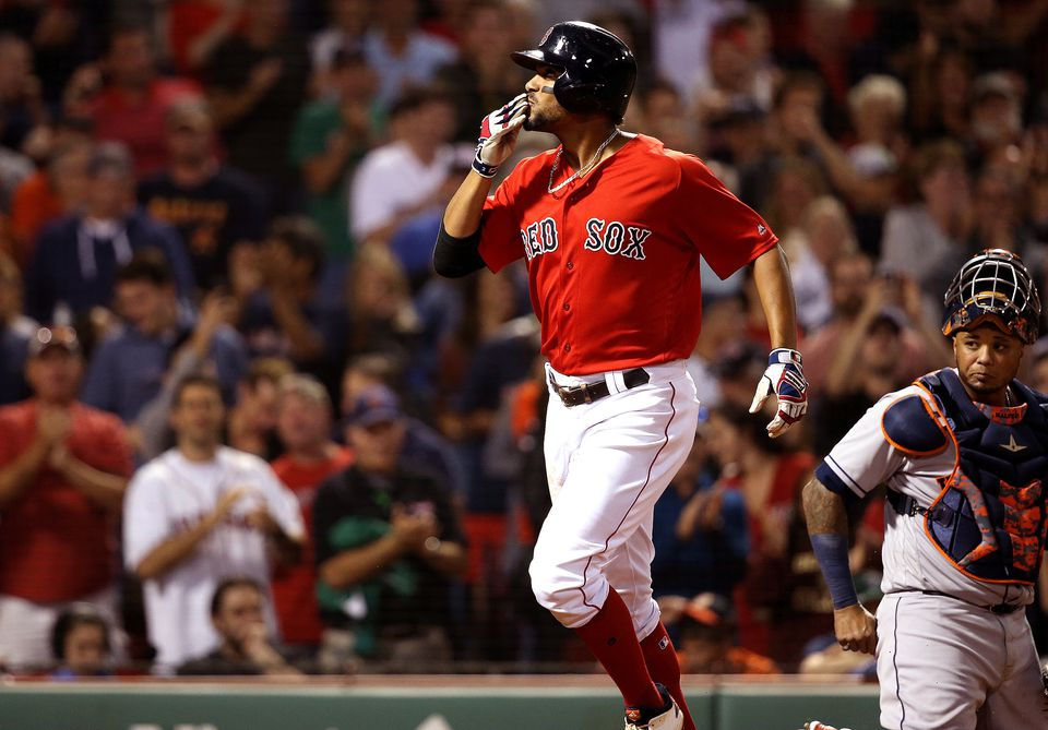 Xander Bogaerts blows a kiss to fans after crossing the plate with his 20th homer of the season.