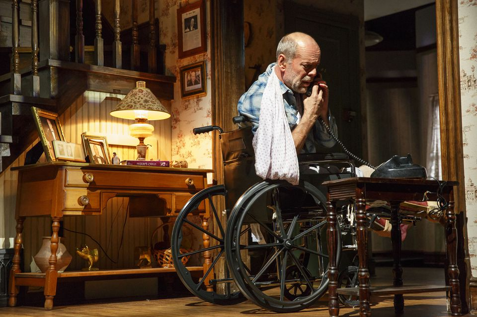 "Bruce Willis in his Broadway debut in ""Misery."""