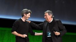 """Jason Reitman (left) and Ivan Reitman speak onstage during CinemaCon 2021 Opening Night Event on Aug. 23, 2021 in Las Vegas, Nevada. Ivan Reitman told Deadline he'll """"probably"""" make the sequel to """"Twins"""" in Boston in January 2022."""