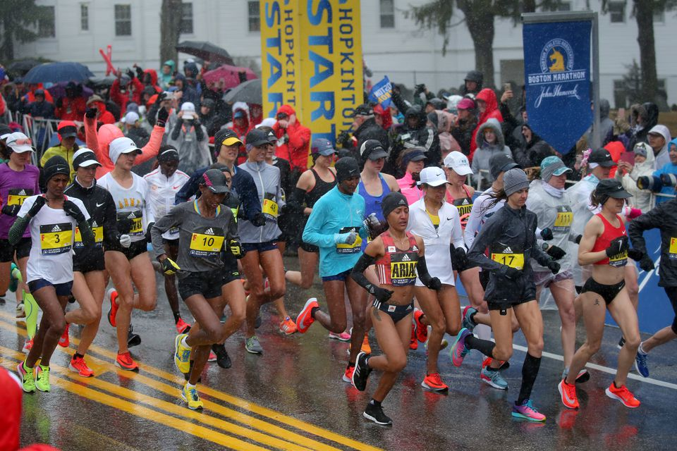 The elite women in the Boston Marathon have had a separate start since 2004; the men will join them in that this year.