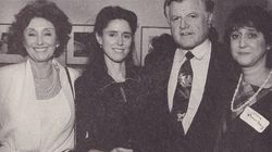 Betty Taymor with her daughter Julie Taymor, Senator Edward  Kennedy, and her daughter Laurie Taymor-Berry.