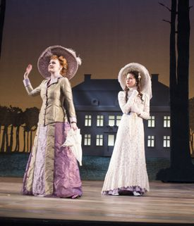 """Kate Baldwin (left) and Phillipa Soo in the Berkshire Theatre Group production of  Stephen Sondheim's """"A Little Night Music,'' directed by Ethan Heard."""