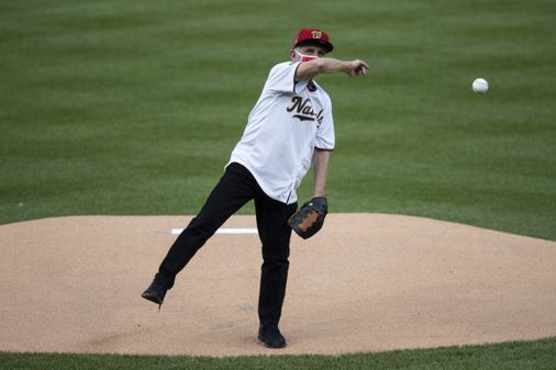 Dr Fauci Tosses First Pitch At Nationals Opening Game The Boston Globe