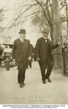 Julius Rosenwald (left) and Booker T. Washington at Tuskegee Institute