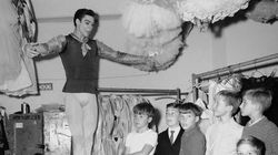 Mr. d'Amboise demonstrated a jump amid his young students backstage at New York's Lincoln Center in 1965.