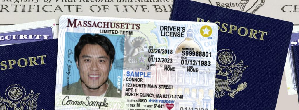 Sample of a Massachusetts Real ID license from the RMV website