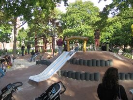 """Some child development experts now advocate for playgrounds incorporating """"loose parts,"""" like those at the Alexander W. Kemp Playground at Cambridge Common."""