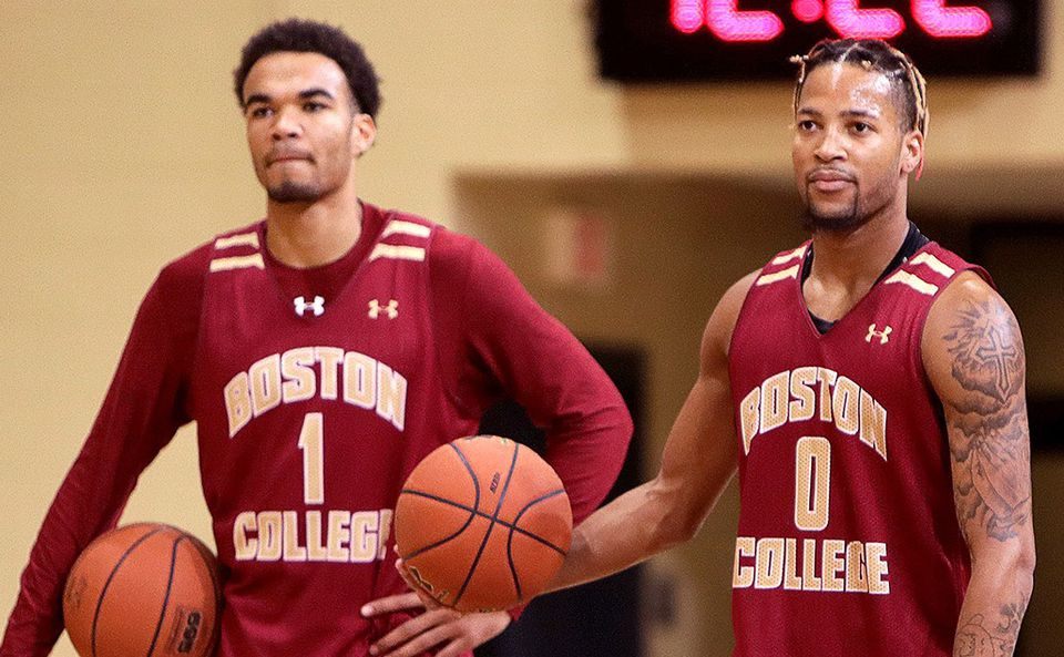 BC guards Jerome Robinson (left) and Ky Bowman.