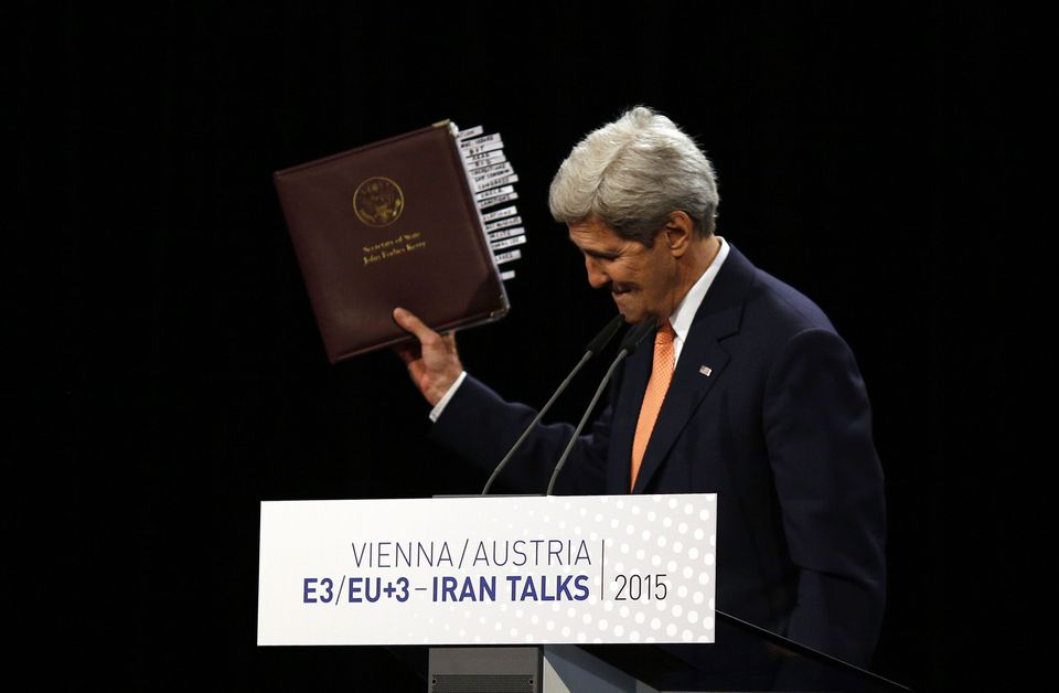 Secretary of State John Kerry held up the Iran nuclear agreement during a press conference Tuesday in Vienna.