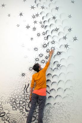 """New York artist Judith Braun creates her ArtPrize entry on the walls of the Grand Rapids Art Museum in """"More Art Upstairs."""""""