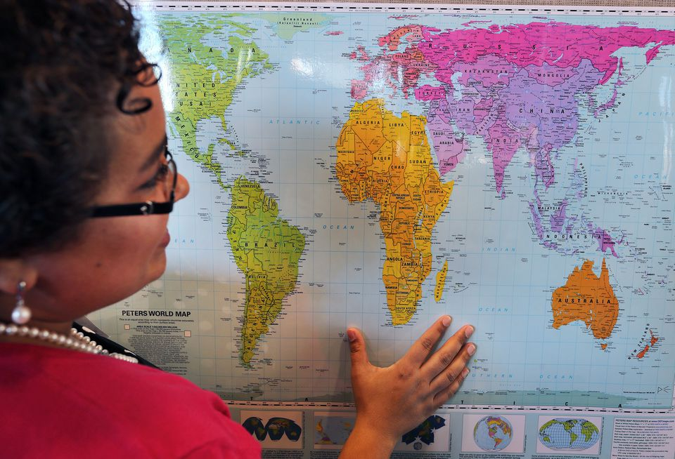 Natacha Scott showed the size of countries on a Peters world map.