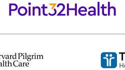 The logo for Point32Health, the new company formed by the merger of Tufts Health Plan and Harvard Pilgrim Health Care.