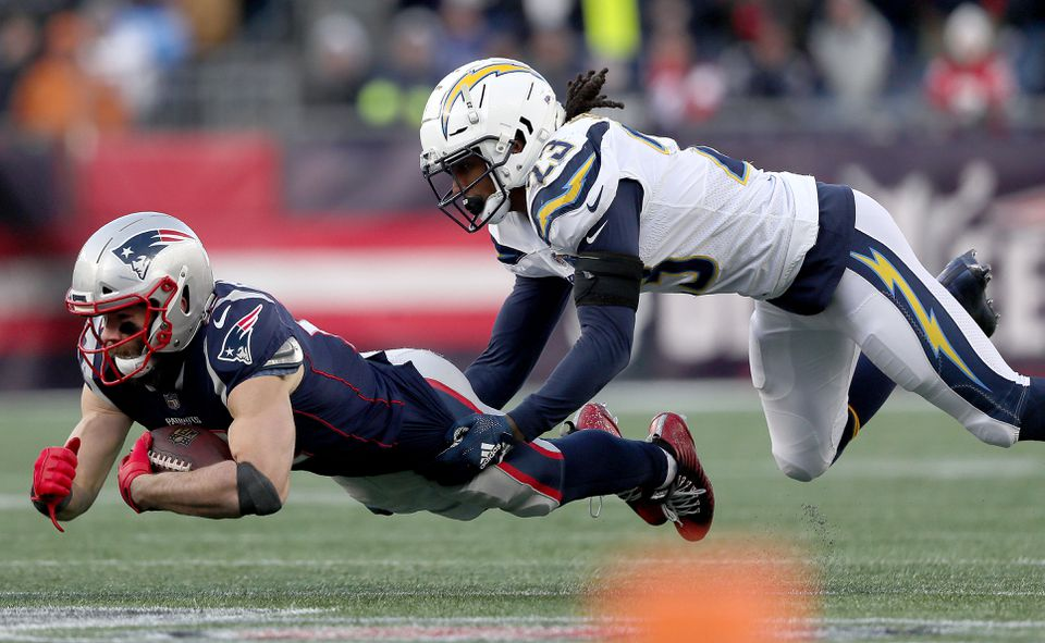 Julian Edelman (9 catches, 151 yards) was caught on the fly by the Chargers' Rayshawn Jenkins.