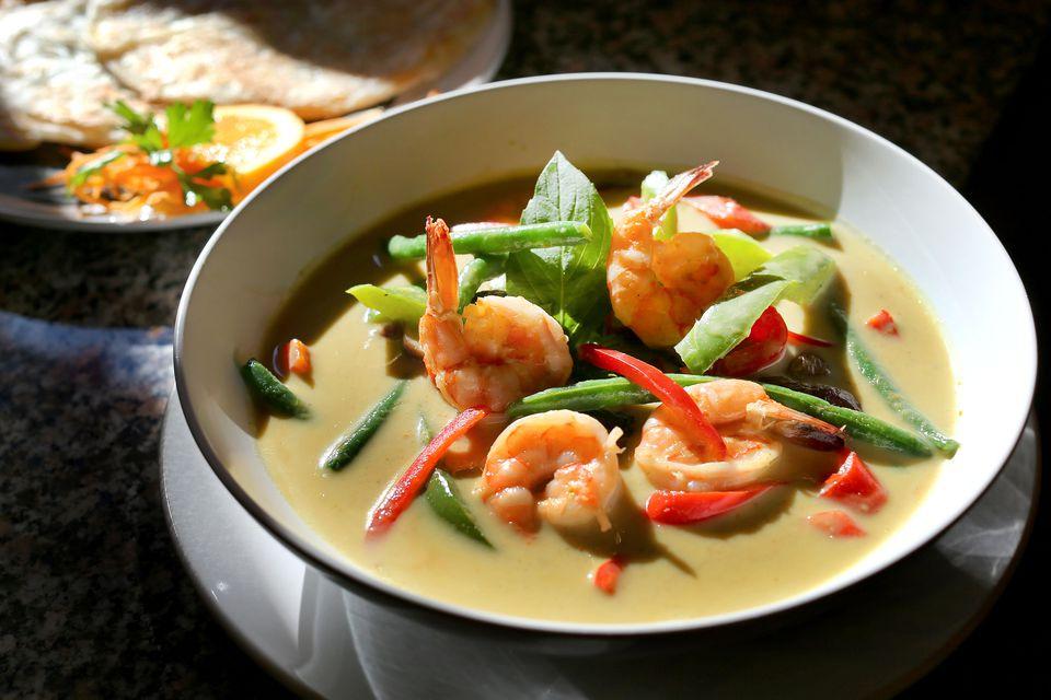 A shrimp curry dish at Eggs & Thai Cafe in Dedham. Boston Globe staff photo by John Tlumacki.