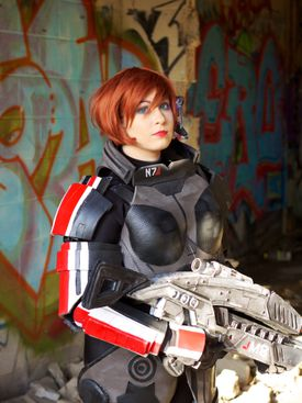 """Cori Leyden Sussler dressed as Commander Shepard from the video game """"Mass Effect 3."""""""