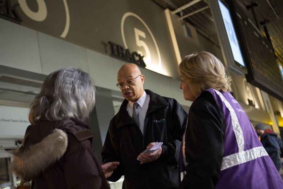 Keolis Commuter Services General Manager Gerald C. Francis spoke with a commuter at North Station in March 2015.