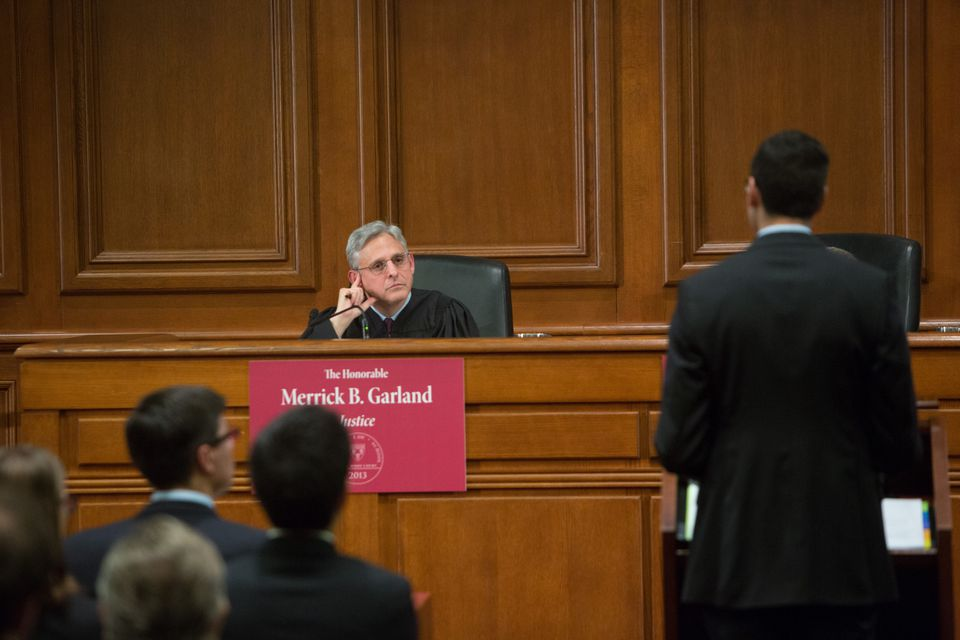Judge Merrick Garland presided over the 2013 Ames Moot Court Competition at Harvard Law School, his alma mater. He also presided over the 2006 competition.