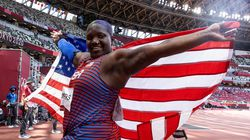 TOKYO, JAPAN - AUGUST 01: Raven Saunders of Team United States reacts after winning the silver medal in the Women's Shot Put Final on day nine of the Tokyo 2020 Olympic Games at Olympic Stadium on August 01, 2021 in Tokyo, Japan. (Photo by David Ramos/Getty Images)