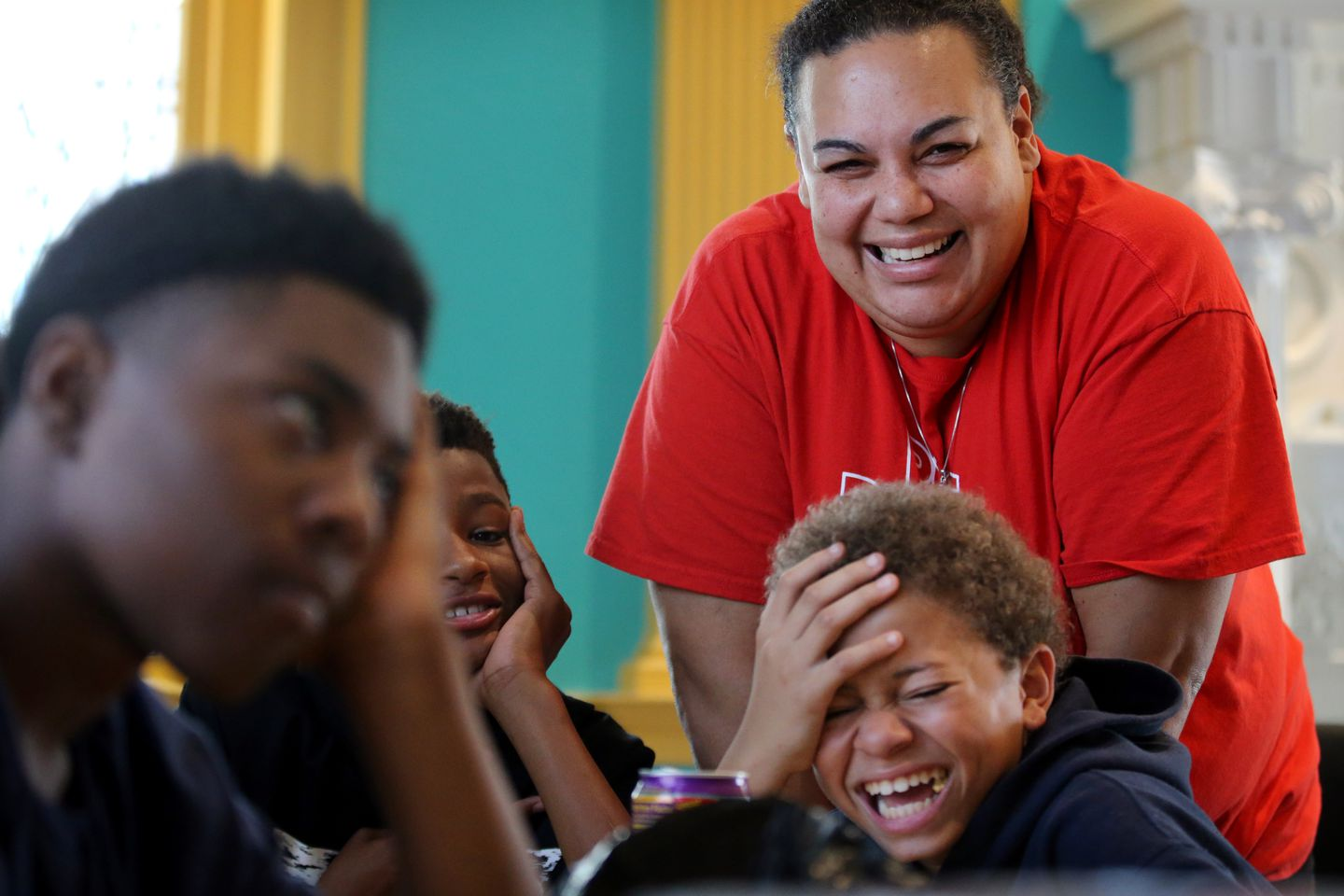 Carla Christopher worked with young people during a drop-in program at Union Evangelical Lutheran Church in York. Christopher also works as an equity coordinator at York County School of Technology.