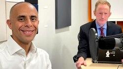Providence Mayor Jorge O. Elorza, left, spoke with Boston Globe reporter Edward Fitzpatrick on the Rhode Island Report podcast.