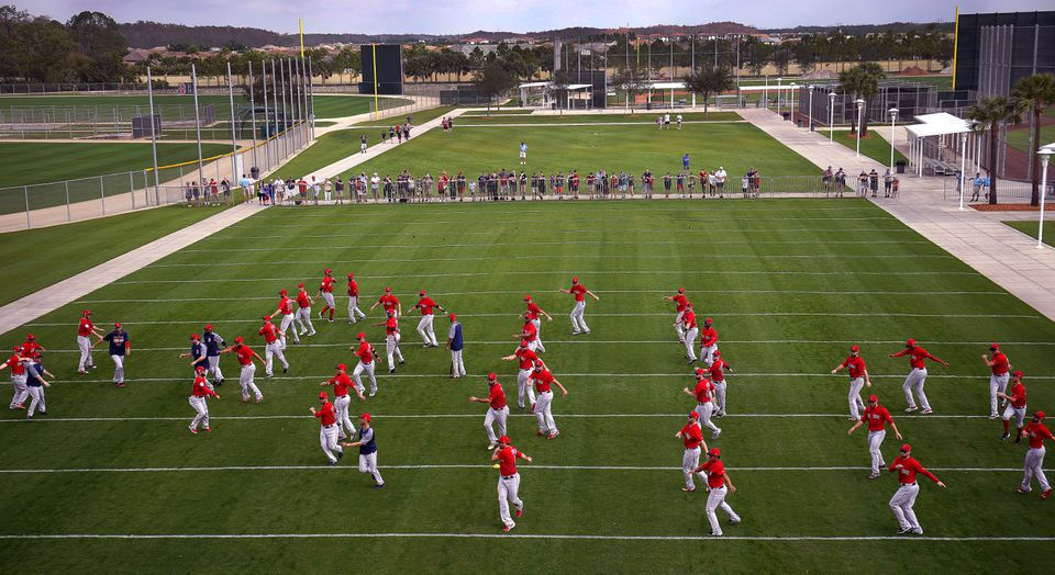 The Red Sox warmed up during their first full squad workout at JetBlue Park on Monday.
