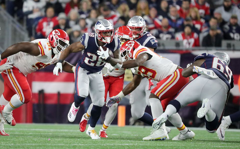 James White (28) finished with 11 touches for 92 yards.
