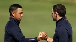 Xander Schauffele (left) and Patrick Cantlay closed out their Saturday morning foursomes win on the the 17th green.