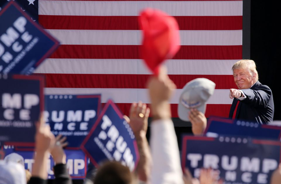 Donald Trump's supporters enthusiastically greeted the candidate Saturday at a rally in Portsmouth, N.H.