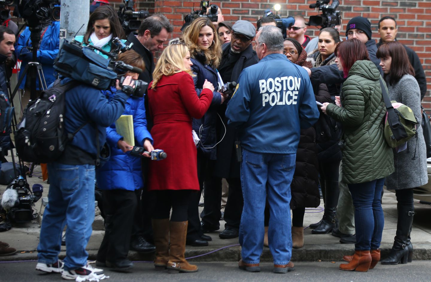 Boston Police Patrolmen's Association President Patrick M. Rose Sr. was surrounded by journalists at a news conference outside of Boston Medical Center following a police shooting in 2015.