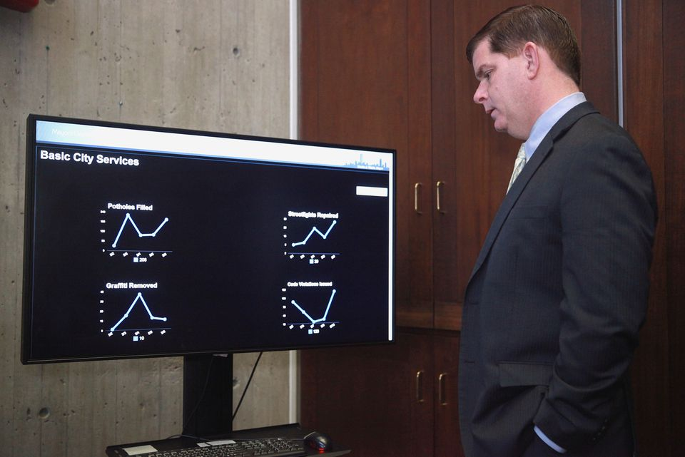 Mayor Martin Walsh looked over a data dashboard in his City Hall offices in March.