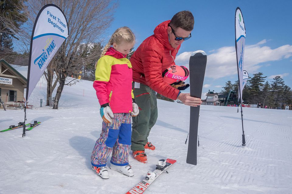 Learn to ski or snowboard at King Pine at Purity Spring Resort.