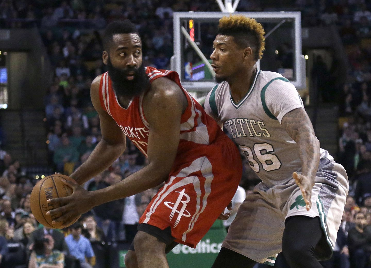 new style e2a16 fbe9f Houston s James Harden (32 points) was a challenge for all Celtics  defenders, including