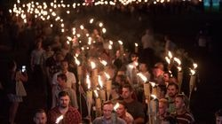 """Chanting """"White lives matter!"""" and """"Jews will not replace us!"""" several hundred white supremacists carrying torches march in Charlottesville, Va., the night before the Unite the Right rally."""
