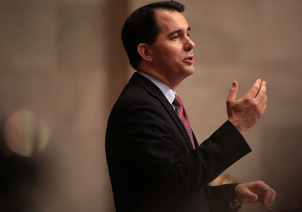 Wisconsin Governor Scott Walker delivered his state budget address at the Wisconsin state Capitol in Madison earlier this month.