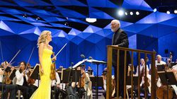 Composer John Williams with violinist Anne-Sophie Mutter, performing his Violin Concerto No. 2 with the BSO during a dress rehearsal on July 22 at Tanglewood.