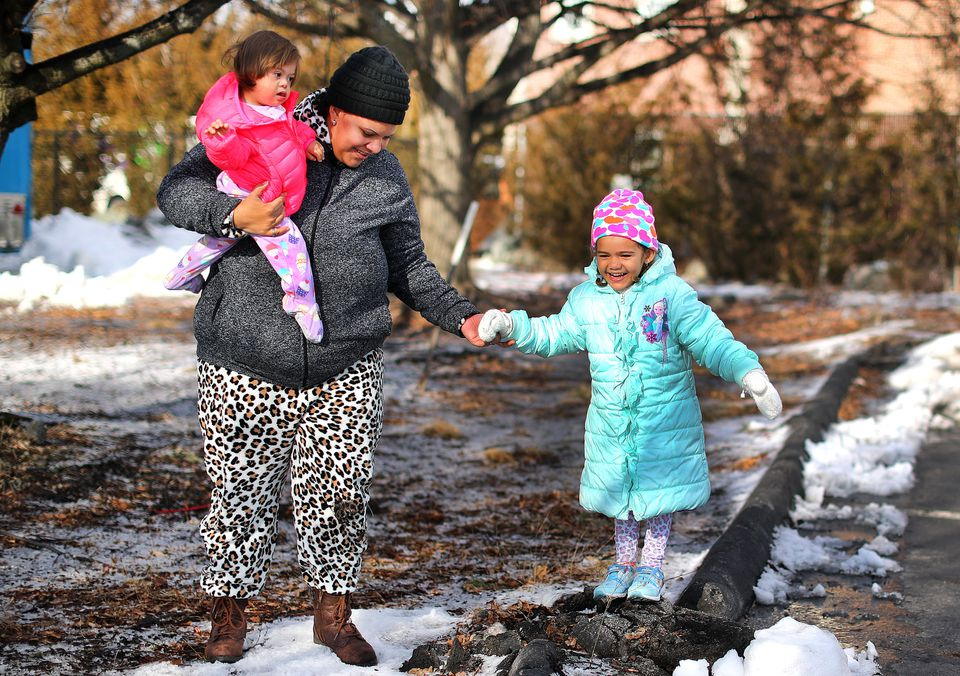 Yenitza Rodriguez Fuentes, 26, and her children, Yelianis, 1, and Yelismary, 3, arrived from Puerto Rico on Jan. 24 with just $400. They are staying at a hotel in Dedham.