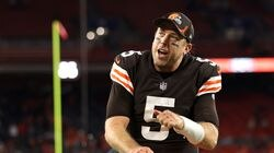Browns quarterback Case Keenum celebrates after Cleveland defeated the Denver Broncos.