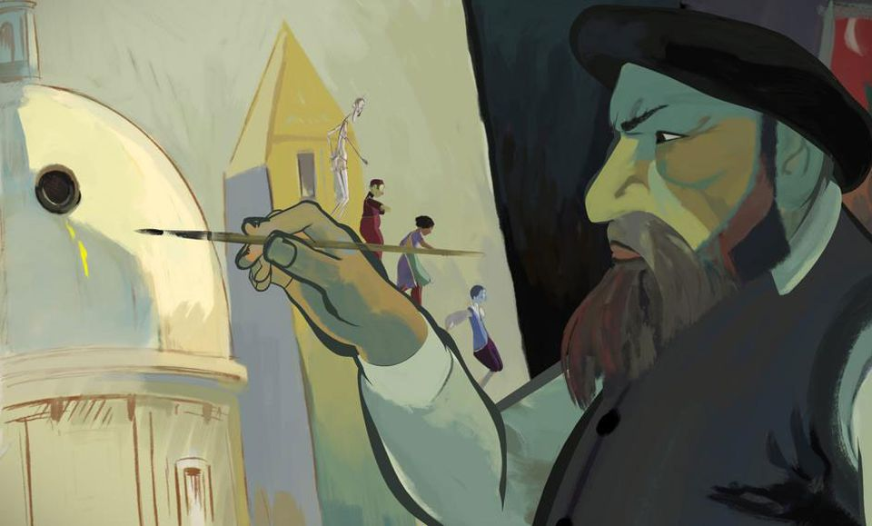 "Characters explore one of the artworks in ""The Painting,"" directed by Jean-Francois Laguionie."