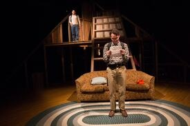"""Eddie Shields (front, with Gideon Bautista) in """"Edith Can Shoot Things and Hit Them"""" at Boston Center for the Arts."""